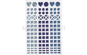 "Blizgaus plastiko lipdukai ""Mosaic Blue"", 138vnt."