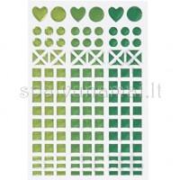 "Blizgaus plastiko lipdukai ""Mosaic Green"", 138vnt."