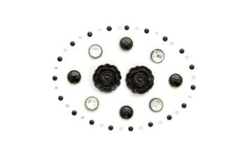 "Dekoracijos ""Noir Reverie: gems and brads"", 48vnt."
